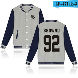 Wholesale Green Printing Services - 2017 hot sales autumn and winter baseball service MONSTA X alphabet geometric printing v collar casual long sleeve jacket