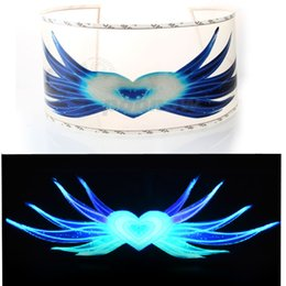Wholesale Sound Music Activated Car Stickers - Wholesale- POPNOW 90x25cm Blue Heart & Wing Style Car Sticker LED Flashing Light EL Sound Activated Equalizer Car Music Rhythm Light #3404