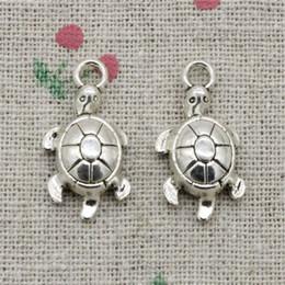 Wholesale Tortoise Turtle Charm - 80pcs Charms Jewelry tortoise turtle sea 23*12mm pendant Zinc Alloy Ancient Sliver DIY Craft Necklace Bracelet Accessories