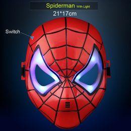 Wholesale Heroes Theme - Children or Adult Hero Masks Carton Spiderman Batman Superman Hulk Ironman Mask With LED Light Full Face Masks Film Theme For Guys Cosplay