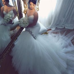 Wholesale Sweetheart Train - 2017 Mermaid Wedding Dresses Crystals Beaded Straps Bridal Wedding Gowns Sexy Sweetheart Long Train Tulle Bride Dress HS317