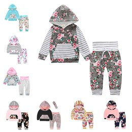 Wholesale Coloured Hoodies - 2018 INS Baby Clothing Sets Boys Girls Toddler Hoodies Pants 2Pcs Set Spring Autumn Cotton Infant Floral Sweatshirts Boutique Clothes Suits