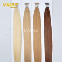 Wholesale Remy Stick Tip Hair Extensions - I Tip Human Hair Extensions 1g strand 100g pack Brazilian Virgin Hair Natural Straight Keratin Stick Tip Virgin Remy Hair Extensions
