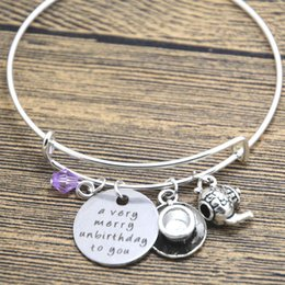 Wholesale Alloy Jewlery - 12pcs lot Alice in Wonderland inspired unbirthday bracelet A very merry unbirthday to you Tea Party Fairytale Jewlery bangle