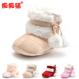 Wholesale Baby Girl Crib Boots - 2017 Winter Baby Girls Boys Shoes Boots Moccasins Soft Crib Infant Warm Fleece First Walkers Newborn Toddler Shoes