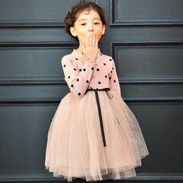 Wholesale Turtleneck Wedding Dressed - Baby Girl Bow Crochet Knit Dress Kids Long Sleeve Party Wedding Pageant Tulle Tutu Dresses MWG004