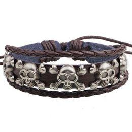 Wholesale Cow Skull Jewelry - Cow Leather Alloy Skulls Decorated BRACELET Charm Bracelets fashion wrist bangle Free style Cheap On Sale wrist jewelry ornaments Bangles