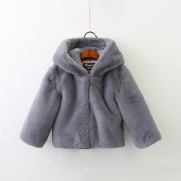 Wholesale Ear Fur Coats - Children cute outwears 2017 new winter girls cotton hooded rabbit ears fur cloak sweater kids zipper long sleeve thickening coats