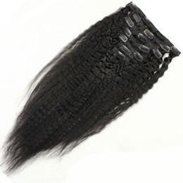 Extensiones de cabello humano negro de las mujeres online-Clip de pelo humano peruano de calidad superior 8A en extensiones 10-30inch Natural buscando mujeres negras sin enredo ningún vertimiento