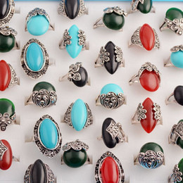 Wholesale Green Agate Rings - Trendy Fashion Beautiful Vintage Antique Silver Bohemian Boho Sliver Rings for Women Maxi Ring Anillos Bague Femme