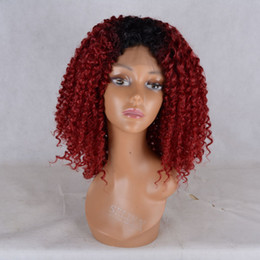 Wholesale Cheap Red Curly Synthetic Wigs - ombre red Full Density Synthetic Lace Front Wigs With Baby Hair Realistic Wigs Afro Curly Cheap Synthetic Lace front Wigs For Black Women