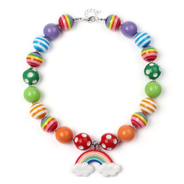 Wholesale Rainbow Chunky Necklace - Fashion Beaded Kids Jewelry Chunky Bubblegum Beads Necklaces with rainbow pendant For Gift