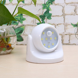 Wholesale Round Beds For Kids - Wholesale- NEW 9 LED Night Light for Children with Motion Sensor Sleeping Light Kids Bed Night Lamp 360 Rotation PIR IR Infrared Detector