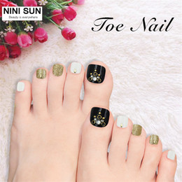 Wholesale Fake Foot Nail - Wholesale- 24pcs lot Fake Nails Super Invincible Beautiful Summer Toenails False Nial For Foot Nail Manicure Kawaii Foot False Nail Beauty