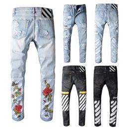 Wholesale Hip Hop Jeans Brands - OFF WHITE Men's Distressed Ripped Biker Jeans US Size JUSTIN BIEBER mbroidery Famous Brand Designer Mens Destroyed Denim Hip Hop Men Pants