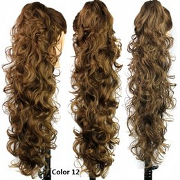 "Wholesale European Clip Curly Hair - Wholesale- 31"" 210g Synthetic Hair Claw Ponytail Clip In On Hair Extension Wavy Curly Style Heat Resistant Synthetic Pony Tail Hair Pieces"