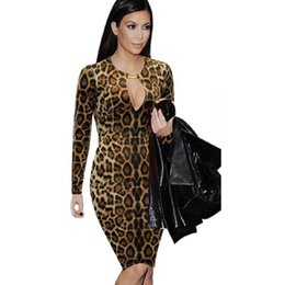 Wholesale Long Tunic Sequin Xl - 2017 Women Celebrity Sexy Long Sleeve Leopard Keyhole Tunic Cocktail Party Club Clubwear Bodycon Pencil Sheath Dress S- XL XXL