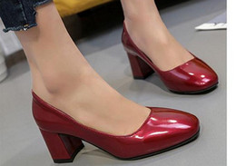 Wholesale Square Mouth Shoes - The new spring 2017 square shallow mouth thick with documentary shoes for women's shoes patent leather shoes FuRuiSource
