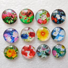 Wholesale Cheap European Charm Beads - 20pcs Cheap Mixed Color Rose Sunflowers 18mm Glass Snap Button Snaps Jewelry Buttons For Ginger Snap Bracelets