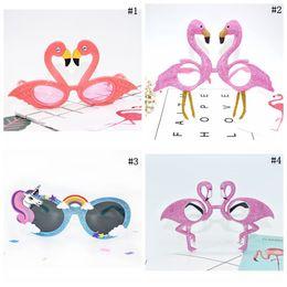 Wholesale Flamingo Party Accessories - Flamingo Unicorn Sunglasses Tropical Party Glasses Beach Party Fancy Dress Accessory Funny Glasses Eyewear Event Supplies 500pcs LJJO3197