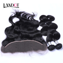 Wholesale Human Body Ears - Brazilian Virgin Hair Weaves 3 Bundles With Lace Frontal Closure Body Wave Peruvian Indian Malaysian Cambodian Human Hair Ear to Ear Closure