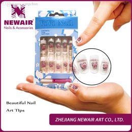 Wholesale Glue Metallic Nails - Wholesale-Brand New Metallic Design Nails Tips 10 Sizes 3packs lots False Nails With Glue Full Cover Bow Display VIVI Nails