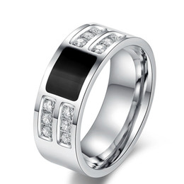 Wholesale Mens Rings Stones - Men's Ring Jewelry wholesale Stainless Steel Beauty Crystal Mens Ring With CZ Stone Male Cool Party Jewelry R-066