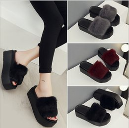 Wholesale Slippers Set Mop - New style rabbit hair thick platform slippers Hot fashion ultra-soft real set of cross Rabbit bottom hair plush slippers - Free Shipping