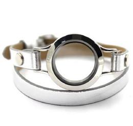 Сплав винт с плавающей стеклянной медальон браслеты wrap серебряный розовый красный кожаный браслет fit памяти медальон шарм для Рождественский подарок от
