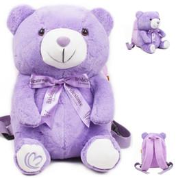 Wholesale Plush Bear Backpack - Plush Cartoon Toys Bow Purple Bear Girls School Bags Lovely School Backpack for Children