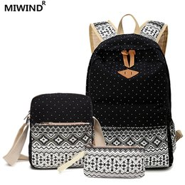Wholesale Canvas Dots Backpacks For Girls - 17 Set Stylish Canvas Printing Backpack Women School Bags for Teenage Girls Cute Bookbags Laptop Backpacks Female Bagpack