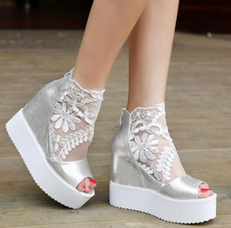 Wholesale Sexy Platform Wedding Sandals - Sexy wedge sandal silver white black lace wedding boots high platform peep toe ankle boots wedding shoes