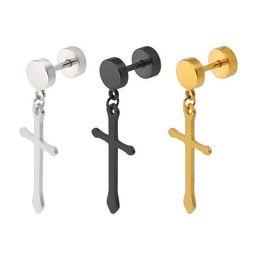 Wholesale Cross Earrings For Women - Fashion Classic Cross Pendant Earrings Gold Silver Titanium Stainless Steel Stud Earrings For Women Men Jewelry