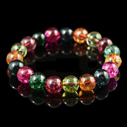 Wholesale 12mm rope chain - High Polished Natural Watermelon Tourmaline Gemstone Bracelets Multicolor 8 10 12mm Gorgeous Crystals Buddha Beads Bracelet