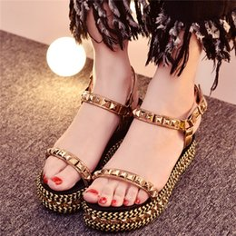 Wholesale Spike Platform Wedges - Fashion Wedges Sandal Metallic Spikes Thick Heels Shoes Open Toe Platforms Rivets Embellished Summer Sandals Woman Girl Shoes Big Size 33-43
