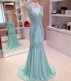 Wholesale Mint Chiffon Maternity Dress - Mint Mermaid Evening Dresses 2017 V Neck Illusion Back Long Evening Party Gowns Custom Made Sheath Chiffon Prom Dresses
