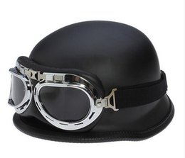 Wholesale Vintage Scooter - DOT Approved WWII German Vintage Motorcycle Helmet Motocicleta Capacete Casco motorbike scooter Half Helmets With Goggles