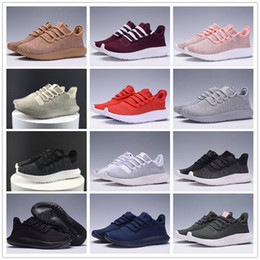 Wholesale Flat Cardboard - 2017 High Quality Tubular Shadow Knit Weave White Grey Navy Blue Khaki Cardboard Sneakers Running Shoes 350 boost Sport Sneakers 5-11