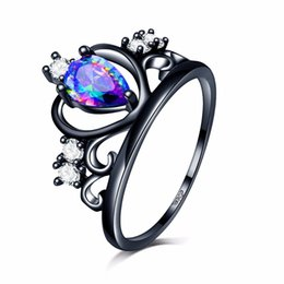 Wholesale Heart Tear - Hot Sell Punk heart dark Princess Queen Crown party Ring Colorful Angel tears zircon 18k black gold filled wedding cocktail alliance