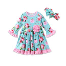 Wholesale Bell Balls - Everweekend Toddler Baby Girls Floral Ruffles Dress with Headbands Bell Sleeve Cute Blue Children Baby Clothing