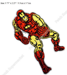 Wholesale Suit Badges - Retro Iron Man Power Armor Suit Classic Marvel Comics Superhero Crest Badge TV movie Embroidered sew on iron on patch applique
