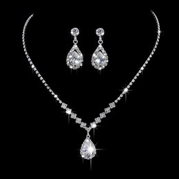 Wholesale Wholesale Diamond Bridal Necklace - 925 sterling Crystal Bridal Jewelry Sets Silver Color Pendant Necklace Earrings Sets Wedding African Beads Jewelry Sets NO 463