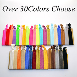 Wholesale Elastic Color Hair - 100 Pcs lot (30 Colors Option) New Woman Knotted Ribbon Hair Tie Ponytail Holders Stretchy Elastic Headbands Kids   Women Hair Accessory