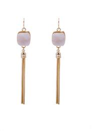 Wholesale Metal Jewelry Hoops - Hot Sale Fashion Jewelry Earrings Designer Popular Stylish Women Lady Metal Long Hoop Tassel Dangle Earring