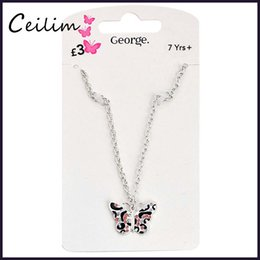 Wholesale Kids Rhinestone Pendants - Fashion Cute Kids Jewelry Silver Chain Butterfly Necklace Women Pink Rhinestone Necklace For Girls Fit Daughter Christmas Children Gift