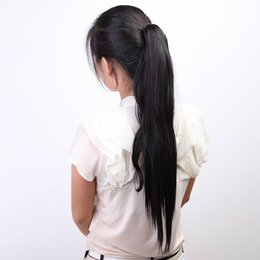 Wholesale Long Blonde Ponytail Hairpiece - Fashion Women Hairpiece Long Big Horsetail Hair Extension Straight hair Straight Make Up Ponytail Synthetic Fibers Periwig 6 Colors