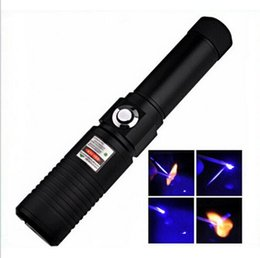 Wholesale Metal Burning Laser - The Most Powerful Burning Laser Torch X9 445nm Focus able blue laser pointer with metal box burn paper free shipping