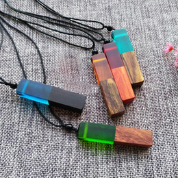 Wholesale Green Wooden Beads - Trendy Woman Resin Wooden Handmade Pendant Wood Men Necklace Jewelry Natural Wood Beads Rope Chian Christmas Gift