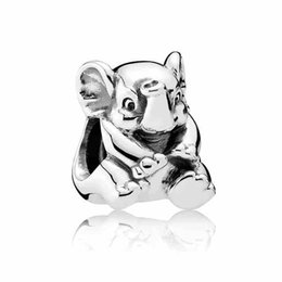 Wholesale Elephant Animal Bracelet - Authentic 925 Sterling Silver Animal Bead Charm Vintage Lucky Elephant Beads Fit Women Pandora Bracelet Bangle Jewelry HKA3637
