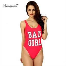 5624fede51d1b BLESSKISS Bad Girl Print One Piece Swimsuit Swimwear 2017 Summer Sexy  Spandex Bodysuit For Women Bathing Suit Swim Wear Red